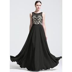 Vestidos princesa/ Formato A Decote redondo Longos tecido de seda Vestido de festa com Apliques de Renda