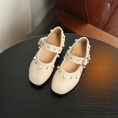 Flicka konstläder Sandaler Flower Girl Shoes med Pärla