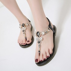Women's PU Flat Heel Sandals Flats Peep Toe Slingbacks With Rhinestone shoes