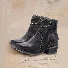 Kvinner PU Stor Hæl Støvler Mid Leggen Støvler sko