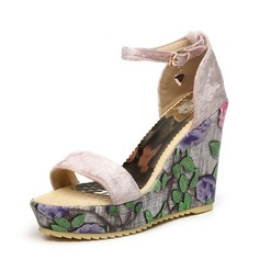 Donna Camoscio Zeppe Sandalo Zeppe Punta aperta scarpe