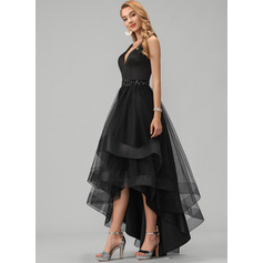 A-Line V-neck Asymmetrical Tulle Homecoming Dress With Beading Sequins (022233292)