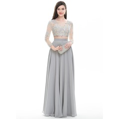 A-Line/Princess Scoop Neck Floor-Length Chiffon Prom Dress (018105706)