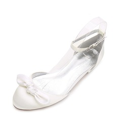 Women's Silk Like Satin Flat Heel Flats Sandals With Bowknot Buckle