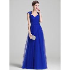 A-Linie/Princess-Linie Schatz Bodenlang Tüll Kleid für die Brautmutter mit Rüschen Perlstickerei Applikationen Spitze Pailletten