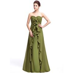 Empire-tyylinen Kullanmuru Lattiaa hipova pituus Sifonki Morsiusneitojen mekko jossa Laskeutuva röyhelö