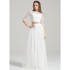A-Line/Princess Scoop Neck Floor-Length Tulle Wedding Dress
