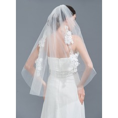 One-tier Cut Edge Fingertip Bridal Veils With Applique/Rhinestones
