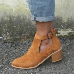 Kvinnor Mocka Tjockt Häl Sandaler Pumps med Spänne skor