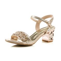 Couro Salto robusto Sandálias Peep toe Sapatos abertos com Strass Fivela sapatos