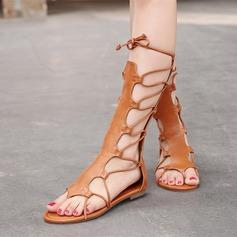 Femmes PU Talon plat Sandales Chaussures plates Bottes À bout ouvert avec Dentelle chaussures