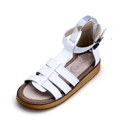Women's Real Leather Flat Heel Sandals Peep Toe With Buckle Hollow-out shoes