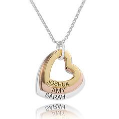 Personlig Sterling Sølv Hjerte Gravering / gravering tre Hjerte halskæde Familie halskæder med Børnenavne - Fødselsdagsgaver Mors Dag Gaver