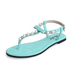 кожа Плоский каблук Сандалии Босоножки с Имитация Перл обувь