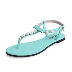 Leatherette Flat Heel Sandals Slingbacks With Imitation Pearl shoes