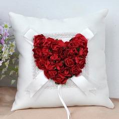 Elegante Rose Ring Kissen in Stoff mit Blumen