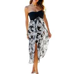 Bohem Blomster Polyester Strand kjole