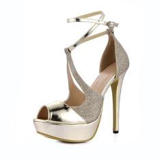 Женщины Лакированная кожа Высокий тонкий каблук Сандалии Платформа Открытый мыс с пряжка Соединение врасщеп обувь