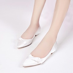 Women's Silk Like Satin Low Heel Closed Toe Flats With Bowknot