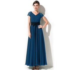 A-Line/Princess V-neck Ankle-Length Chiffon Mother of the Bride Dress With Bow(s)