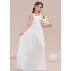 A-Lijn/Prinses Vierkante Halslijn Vloer lengte De Chiffon Junior Bruidsmeisjes Jurk