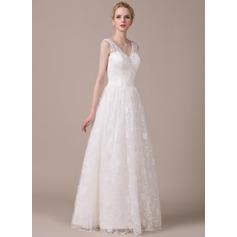 A-Line/Princess V-neck Floor-Length Lace Wedding Dress