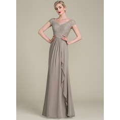 A-Line/Princess V-neck Floor-Length Chiffon Lace Mother of the Bride Dress With Cascading Ruffles