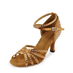 Women's Satin Latin With Rhinestone Dance Shoes