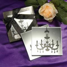 """Chandelier"" Mirrored Glass Coaster (Set of 2)"
