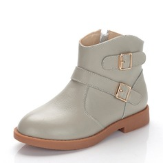 Girl's Real Leather Flat Heel Closed Toe Ankle Boots Boots With Buckle Zipper