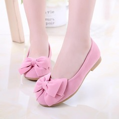 Girl's Closed Toe Suede Flat Heel Flats Flower Girl Shoes With Bowknot