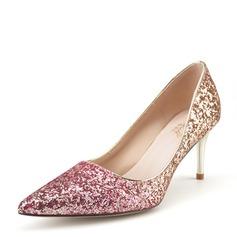 Frauen Funkelnde Glitzer Stöckel Absatz Absatzschuhe Geschlossene Zehe mit Andere Geflochtenes Band Zweiteiliger Stoff Gummiband Schuhe