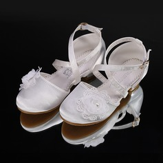 Jentas Round Toe Lukket Tå Silk Som Satin Flate sko Sneakers & Athletic Flower Girl Shoes med Velcro (207204374)