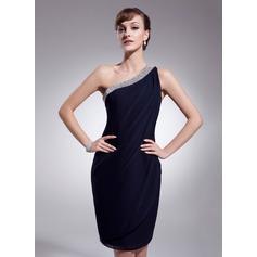 Sheath/Column One-Shoulder Knee-Length Chiffon Cocktail Dress With Ruffle Beading