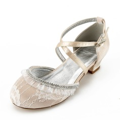 Girl's Round Toe Closed Toe Mary Jane Lace Silk Like Satin Low Heel Flower Girl Shoes With Rhinestone Ruffles Ruched