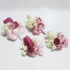 Charme Seda artificiais/Pérola Imitação Conjuntos de flores (conjunto de 2) - Buquê de pulso/Alfinete de lapela
