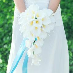 Elegante Cascata Seda artificiais Buquês de noiva