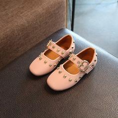 Girl's Leatherette Flat Heel Mary Jane Flats With Velcro Rivet