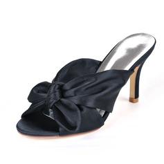 Kvinner silke som sateng Stiletto Hæl Titte Tå Sandaler Slingbacks med Bowknot