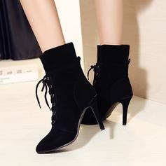 Mulheres Camurça Salto agulha Bombas Bota no tornozelo com Aplicação de renda sapatos