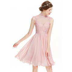 A-Line/Princess High Neck Knee-Length Chiffon Cocktail Dress With Beading