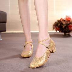 Детская обувь Мерцающая отделка На каблуках На каблуках Бальные танцы с Ремешок на щиколотке Обувь для танцев