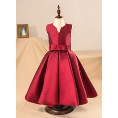 Balo Elbisesi Uzun Etekli Çiçek Kız Elbise - Saten Kolsuz Yuvarlak Yaka Ile Yaylar) (Petticoat NOT dahil)