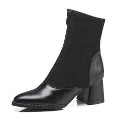 Naisten Keinonahasta Chunky heel Kengät Nilkkurit jossa Split yhteinen kengät