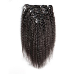 4A Ej remy Kinky Straight människohår Klämma i hårförlängningar 7pcs 100g