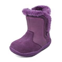 Jentas Leather Suede flat Heel Round Toe Lukket Tå Snø Støvler Støvler med Paljetter Velcro