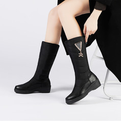 Women's Leatherette Fabric Low Heel Boots With Buckle shoes