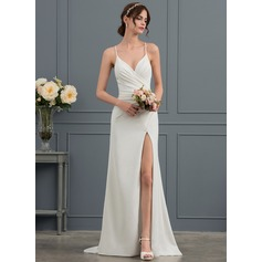 Sheath/Column V-neck Sweep Train Stretch Crepe Wedding Dress With Ruffle Split Front