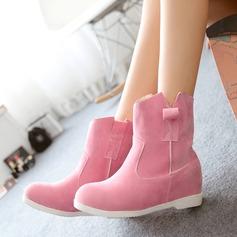 Vrouwen Suede Flat Heel Laarzen Snowboots met Gesplitste Stof schoenen