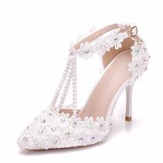 Mulheres Couro Salto agulha Sandálias Bombas com Strass Aplicação Pérola Imitação sapatos